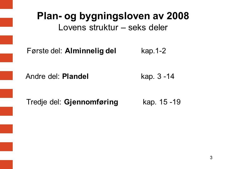 3 Plan- og bygningsloven av 2008 Lovens struktur – seks deler Første del: Alminnelig del kap.1-2 Andre del: Plandel kap. 3 -14 Tredje del: Gjennomføri