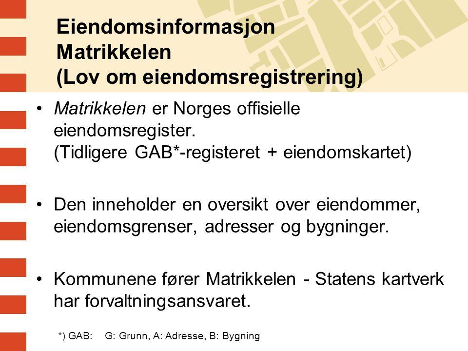 Eiendomsinformasjon Matrikkelen (Lov om eiendomsregistrering) Matrikkelen er Norges offisielle eiendomsregister. (Tidligere GAB*-registeret + eiendoms