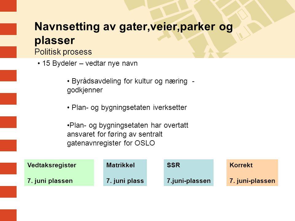 Navnsetting av gater,veier,parker og plasser Politisk prosess 15 Bydeler – vedtar nye navn Byrådsavdeling for kultur og næring - godkjenner Plan- og b