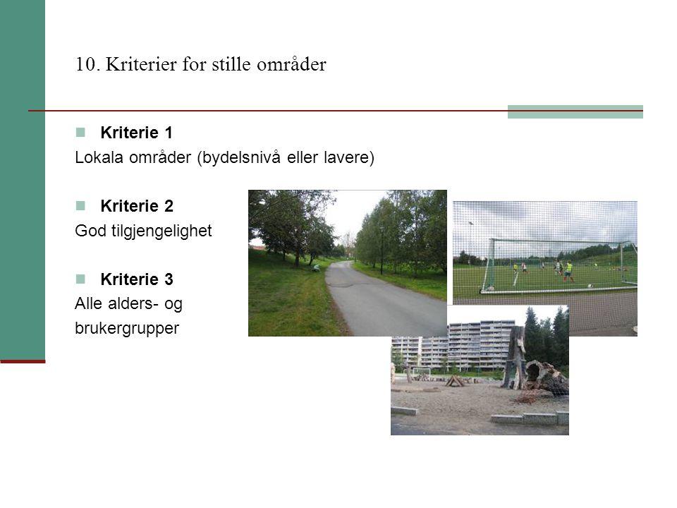 10. Kriterier for stille områder Kriterie 1 Lokala områder (bydelsnivå eller lavere) Kriterie 2 God tilgjengelighet Kriterie 3 Alle alders- og brukerg