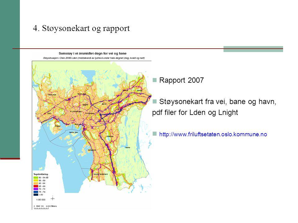 4. Støysonekart og rapport Rapport 2007 Støysonekart fra vei, bane og havn, pdf filer for Lden og Lnight http://www.friluftsetaten.oslo.kommune.no