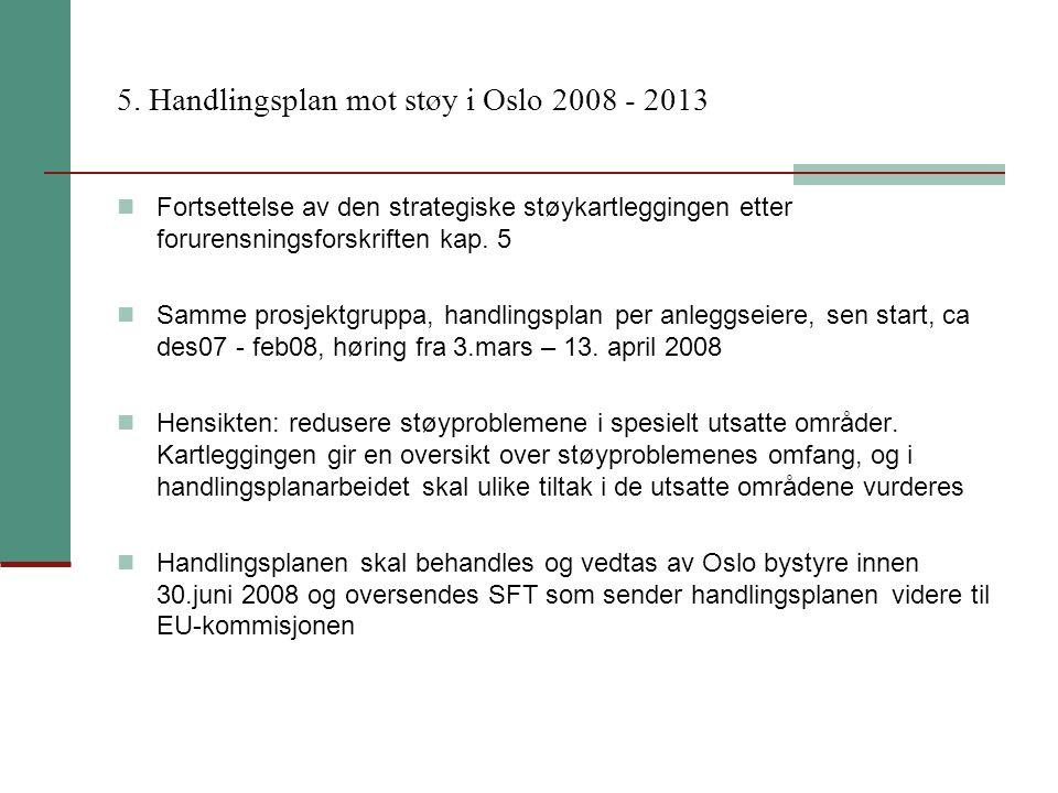 5. Handlingsplan mot støy i Oslo 2008 - 2013 Fortsettelse av den strategiske støykartleggingen etter forurensningsforskriften kap. 5 Samme prosjektgru