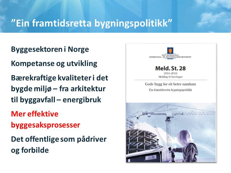 """""""Ein framtidsretta bygningspolitikk"""" Byggesektoren i Norge Kompetanse og utvikling Bærekraftige kvaliteter i det bygde miljø – fra arkitektur til b"""