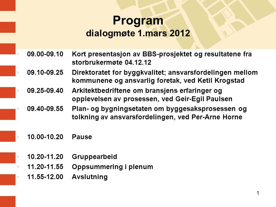 1 Program dialogmøte 1.mars 2012 09.00-09.10Kort presentasjon av BBS-prosjektet og resultatene fra storbrukermøte 04.12.12 09.10-09.25Direktoratet for