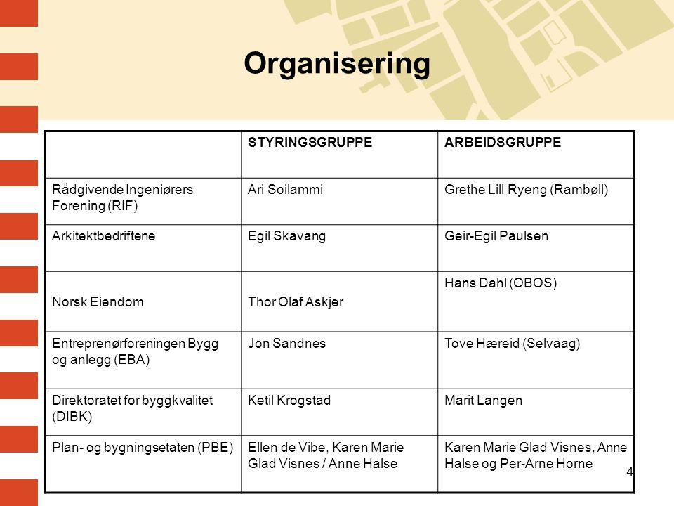 4 Organisering STYRINGSGRUPPEARBEIDSGRUPPE Rådgivende Ingeniørers Forening (RIF) Ari SoilammiGrethe Lill Ryeng (Rambøll) ArkitektbedrifteneEgil Skavan