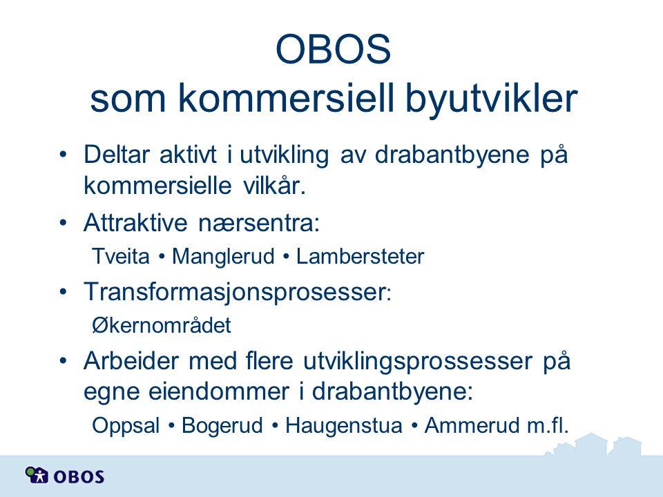 OBOS som kommersiell byutvikler Deltar aktivt i utvikling av drabantbyene på kommersielle vilkår. Attraktive nærsentra: Tveita Manglerud Lambersteter