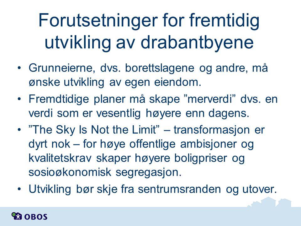 Forutsetninger for fremtidig utvikling av drabantbyene Grunneierne, dvs. borettslagene og andre, må ønske utvikling av egen eiendom. Fremdtidige plane