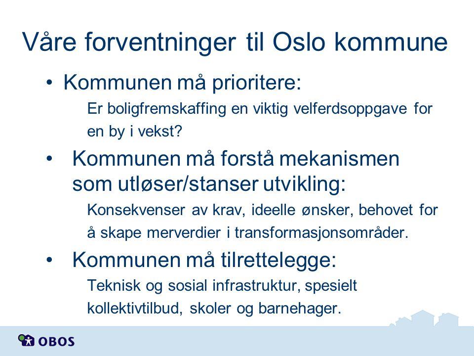Våre forventninger til Oslo kommune Kommunen må prioritere: Er boligfremskaffing en viktig velferdsoppgave for en by i vekst? Kommunen må forstå mekan