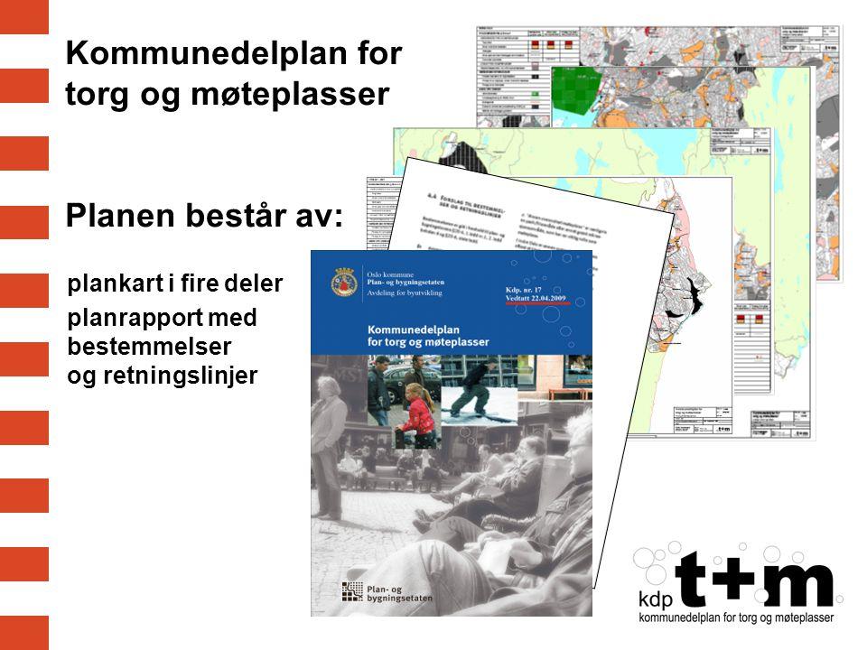 Kommunedelplan for torg og møteplasser Planen består av: plankart i fire deler planrapport med bestemmelser og retningslinjer