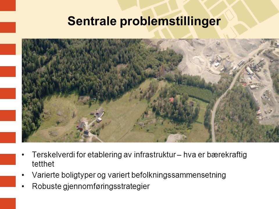 Sentrale problemstillinger Terskelverdi for etablering av infrastruktur – hva er bærekraftig tetthet Varierte boligtyper og variert befolkningssammensetning Robuste gjennomføringsstrategier