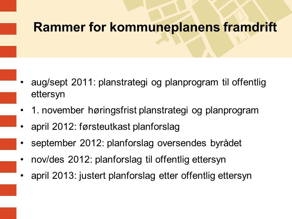 Rammer for kommuneplanens framdrift aug/sept 2011: planstrategi og planprogram til offentlig ettersyn 1.