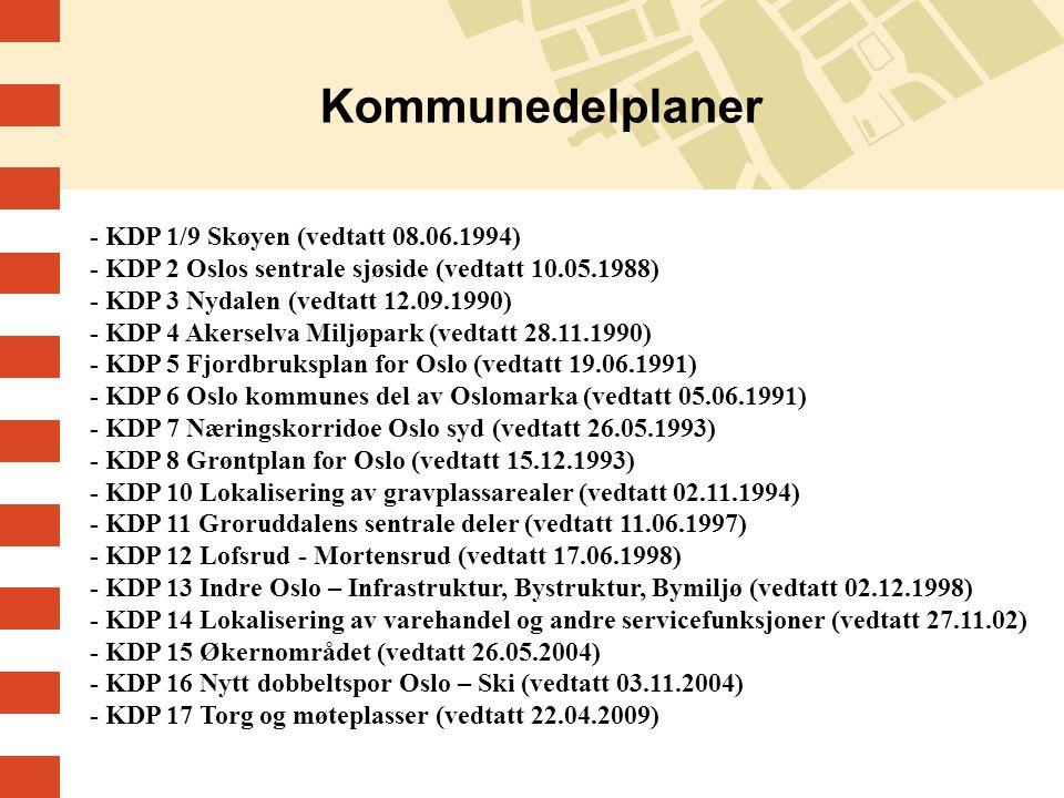 - KDP 1/9 Skøyen (vedtatt 08.06.1994) - KDP 2 Oslos sentrale sjøside (vedtatt 10.05.1988) - KDP 3 Nydalen (vedtatt 12.09.1990) - KDP 4 Akerselva Miljøpark (vedtatt 28.11.1990) - KDP 5 Fjordbruksplan for Oslo (vedtatt 19.06.1991) - KDP 6 Oslo kommunes del av Oslomarka (vedtatt 05.06.1991) - KDP 7 Næringskorridoe Oslo syd (vedtatt 26.05.1993) - KDP 8 Grøntplan for Oslo (vedtatt 15.12.1993) - KDP 10 Lokalisering av gravplassarealer (vedtatt 02.11.1994) - KDP 11 Groruddalens sentrale deler (vedtatt 11.06.1997) - KDP 12 Lofsrud - Mortensrud (vedtatt 17.06.1998) - KDP 13 Indre Oslo – Infrastruktur, Bystruktur, Bymiljø (vedtatt 02.12.1998) - KDP 14 Lokalisering av varehandel og andre servicefunksjoner (vedtatt 27.11.02) - KDP 15 Økernområdet (vedtatt 26.05.2004) - KDP 16 Nytt dobbeltspor Oslo – Ski (vedtatt 03.11.2004) - KDP 17 Torg og møteplasser (vedtatt 22.04.2009)