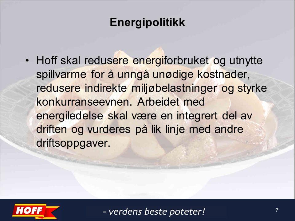 Energipolitikk Hoff skal redusere energiforbruket og utnytte spillvarme for å unngå unødige kostnader, redusere indirekte miljøbelastninger og styrke