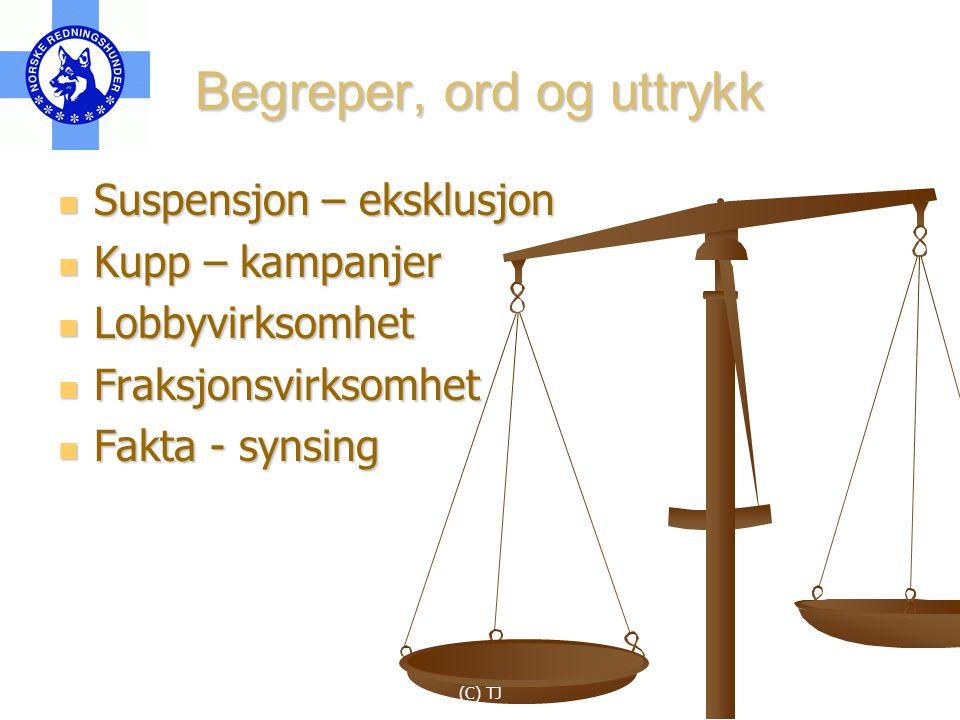 (C) TJ Begreper, ord og uttrykk Suspensjon – eksklusjon Suspensjon – eksklusjon Kupp – kampanjer Kupp – kampanjer Lobbyvirksomhet Lobbyvirksomhet Fraksjonsvirksomhet Fraksjonsvirksomhet Fakta - synsing Fakta - synsing