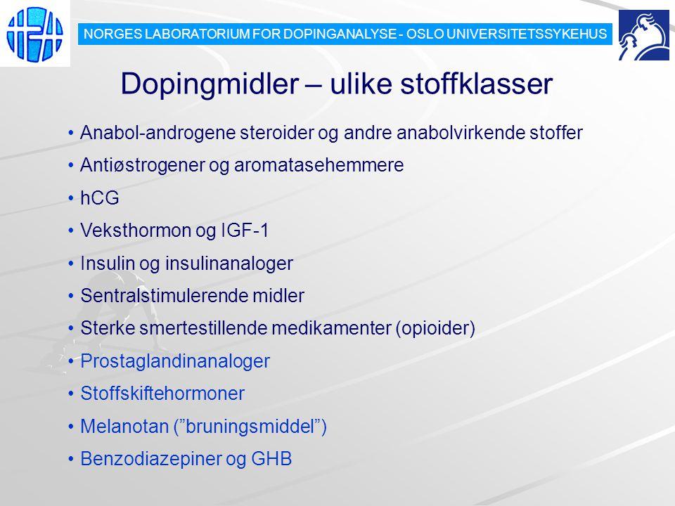 Dopingmidler – ulike stoffklasser Anabol-androgene steroider og andre anabolvirkende stoffer Antiøstrogener og aromatasehemmere hCG Veksthormon og IGF-1 Insulin og insulinanaloger Sentralstimulerende midler Sterke smertestillende medikamenter (opioider) Prostaglandinanaloger Stoffskiftehormoner Melanotan ( bruningsmiddel ) Benzodiazepiner og GHB NORGES LABORATORIUM FOR DOPINGANALYSE - OSLO UNIVERSITETSSYKEHUS