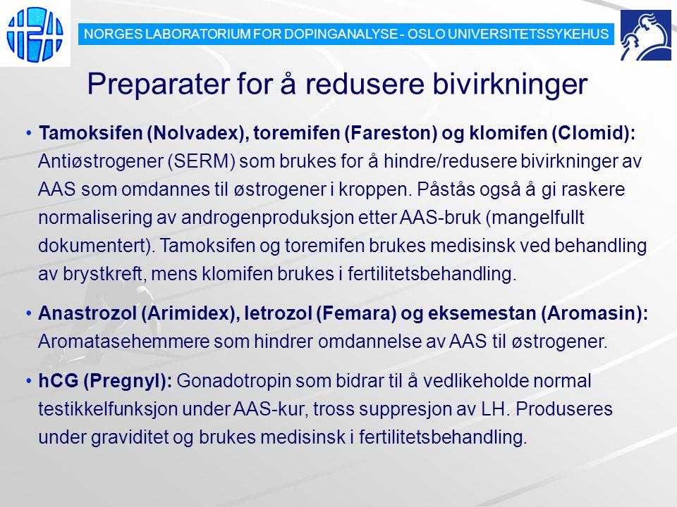 Preparater for å redusere bivirkninger Tamoksifen (Nolvadex), toremifen (Fareston) og klomifen (Clomid): Antiøstrogener (SERM) som brukes for å hindre/redusere bivirkninger av AAS som omdannes til østrogener i kroppen.