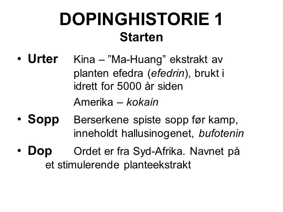"""DOPINGHISTORIE 1 Starten Urter Kina – """"Ma-Huang"""" ekstrakt av planten efedra (efedrin), brukt i idrett for 5000 år siden Amerika – kokain Sopp Berserke"""