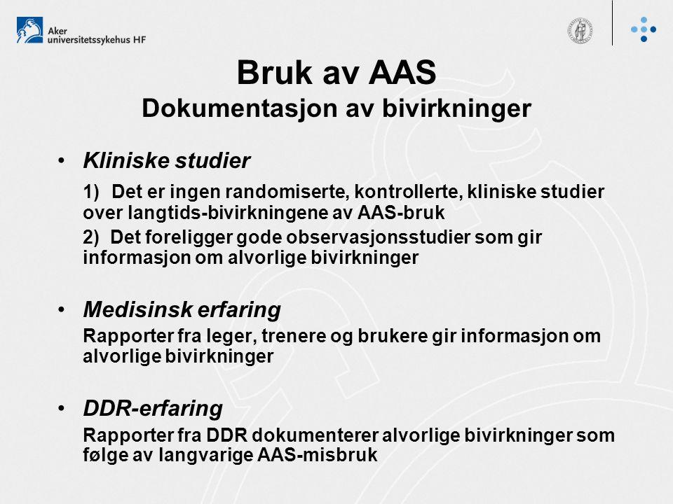 Bruk av AAS Dokumentasjon av bivirkninger Kliniske studier 1) Det er ingen randomiserte, kontrollerte, kliniske studier over langtids-bivirkningene av