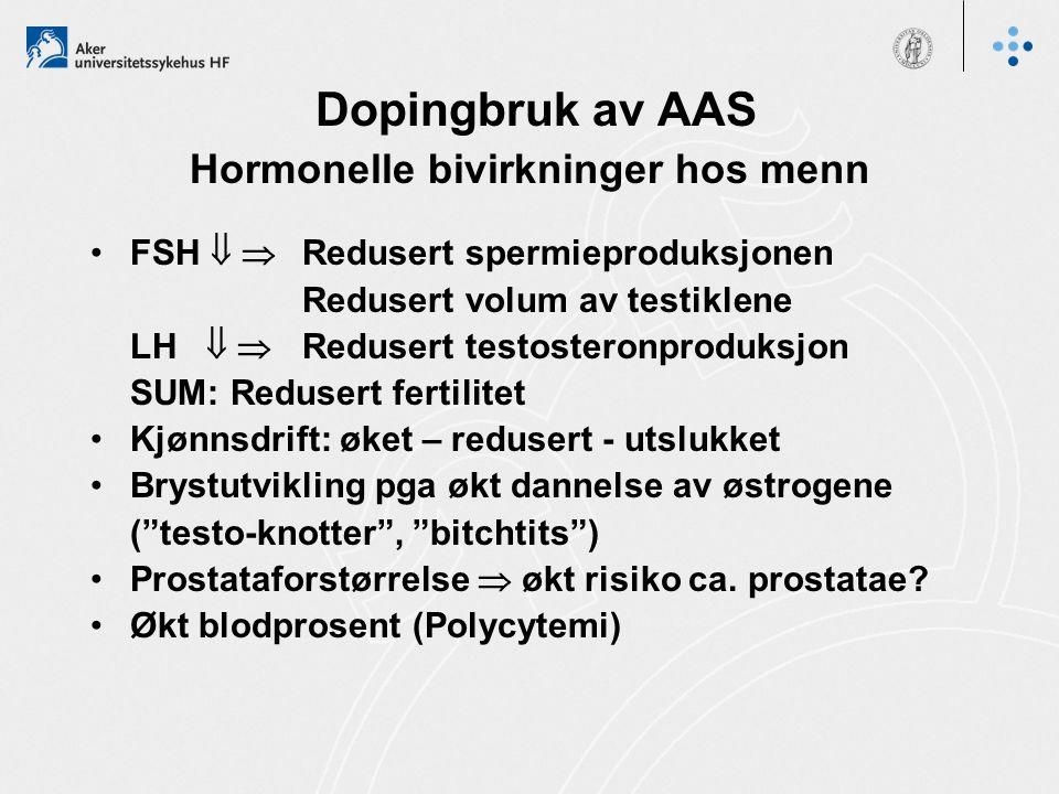 Dopingbruk av AAS Hormonelle bivirkninger hos menn FSH   Redusert spermieproduksjonen Redusert volum av testiklene LH   Redusert testosteronproduk