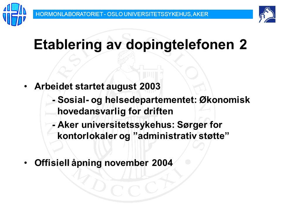 HORMONLABORATORIET - OSLO UNIVERSITETSSYKEHUS, AKER Etablering av dopingtelefonen 2 Arbeidet startet august 2003 - Sosial- og helsedepartementet: Økon