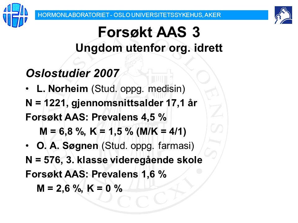HORMONLABORATORIET - OSLO UNIVERSITETSSYKEHUS, AKER Forsøkt AAS 3 Ungdom utenfor org. idrett Oslostudier 2007 L. Norheim (Stud. oppg. medisin) N = 122