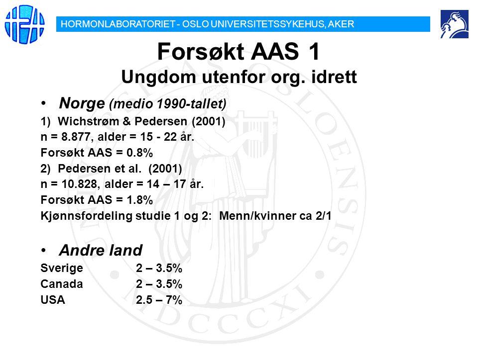 HORMONLABORATORIET - OSLO UNIVERSITETSSYKEHUS, AKER Forsøkt AAS 1 Ungdom utenfor org. idrett Norge (medio 1990-tallet) 1) Wichstrøm & Pedersen (2001)