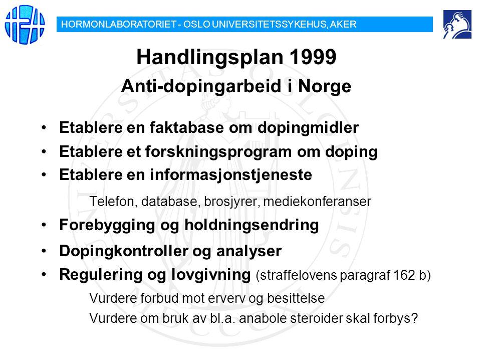 HORMONLABORATORIET - OSLO UNIVERSITETSSYKEHUS, AKER Handlingsplan 1999 Anti-dopingarbeid i Norge Etablere en faktabase om dopingmidler Etablere et for