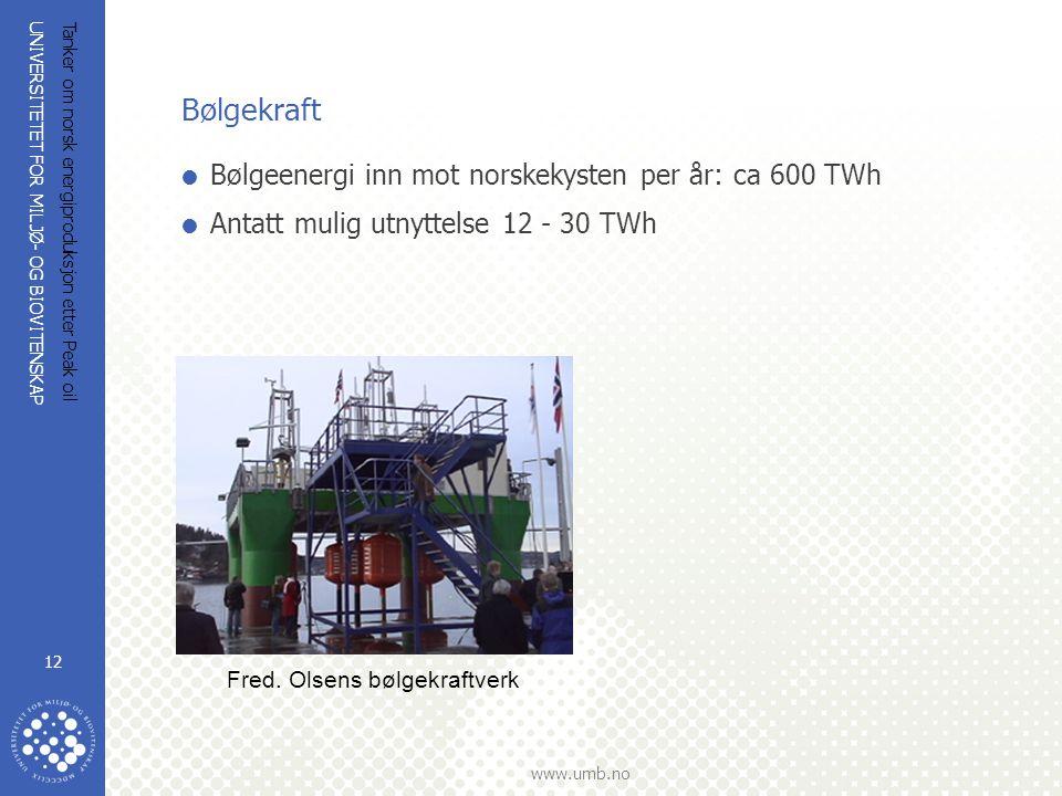 UNIVERSITETET FOR MILJØ- OG BIOVITENSKAP www.umb.no Tanker om norsk energiproduksjon etter Peak oil 12 Bølgekraft  Bølgeenergi inn mot norskekysten p