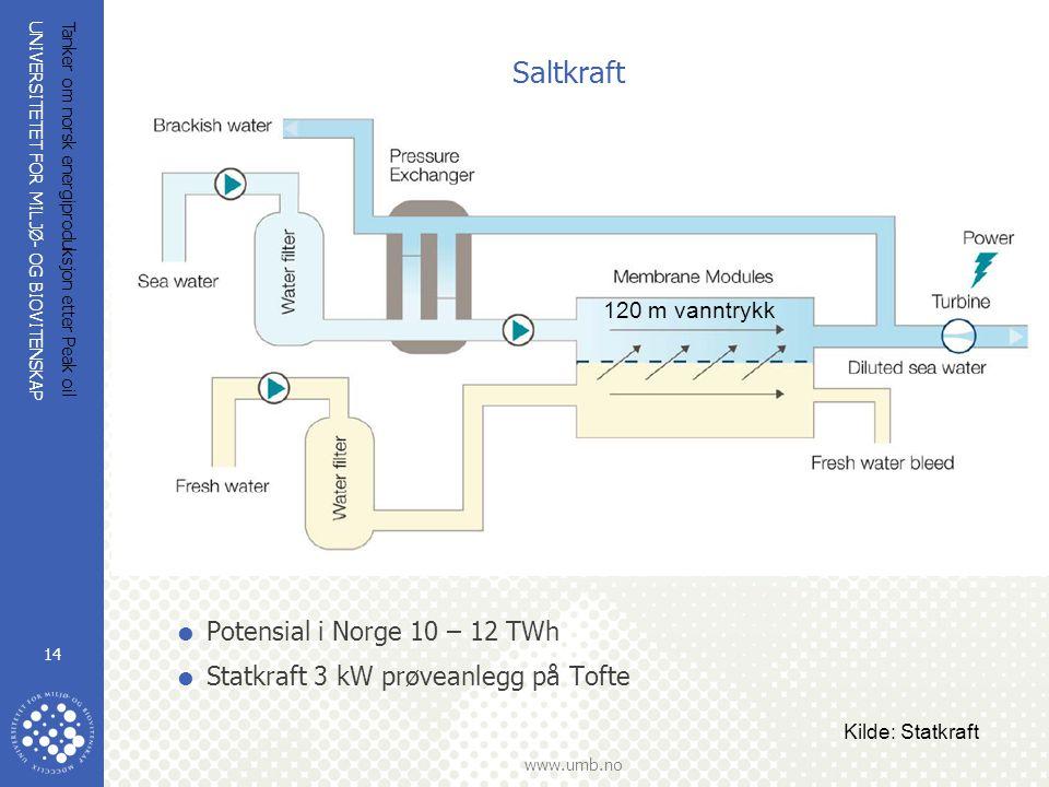 UNIVERSITETET FOR MILJØ- OG BIOVITENSKAP www.umb.no Tanker om norsk energiproduksjon etter Peak oil 14  Potensial i Norge 10 – 12 TWh  Statkraft 3 k