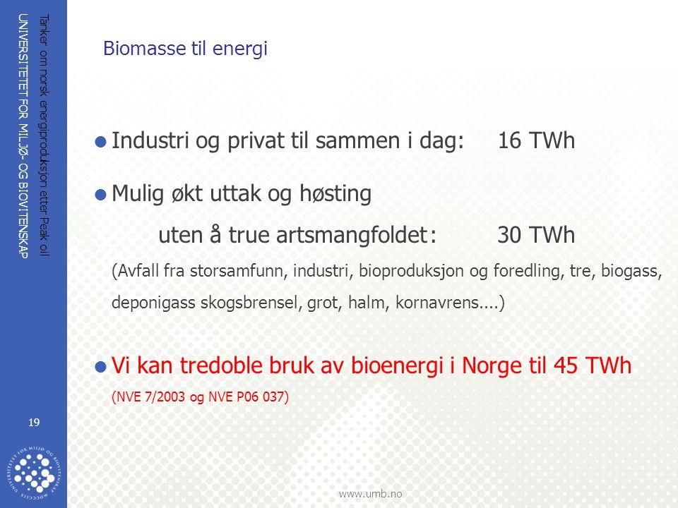 UNIVERSITETET FOR MILJØ- OG BIOVITENSKAP www.umb.no Tanker om norsk energiproduksjon etter Peak oil 19 Biomasse til energi  Industri og privat til sa