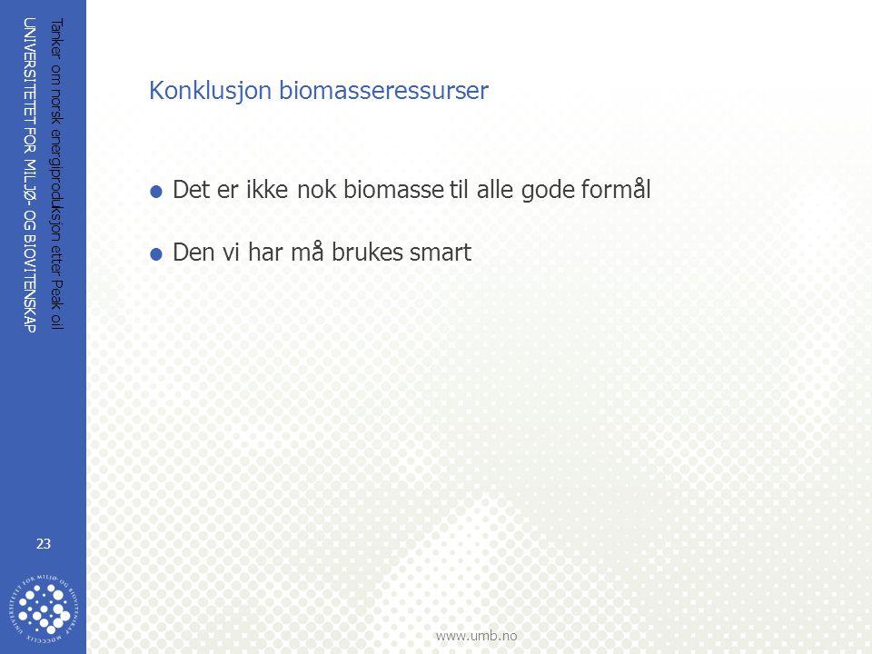 UNIVERSITETET FOR MILJØ- OG BIOVITENSKAP www.umb.no Tanker om norsk energiproduksjon etter Peak oil 23 Konklusjon biomasseressurser  Det er ikke nok