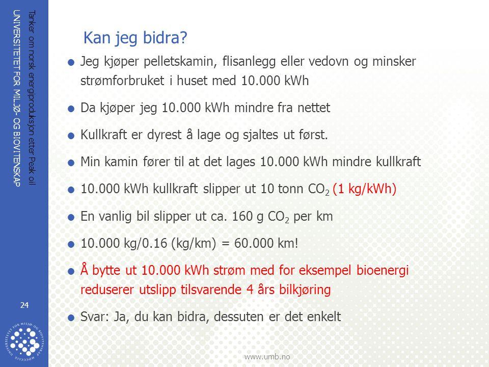 UNIVERSITETET FOR MILJØ- OG BIOVITENSKAP www.umb.no Tanker om norsk energiproduksjon etter Peak oil 24 Kan jeg bidra?  Jeg kjøper pelletskamin, flisa