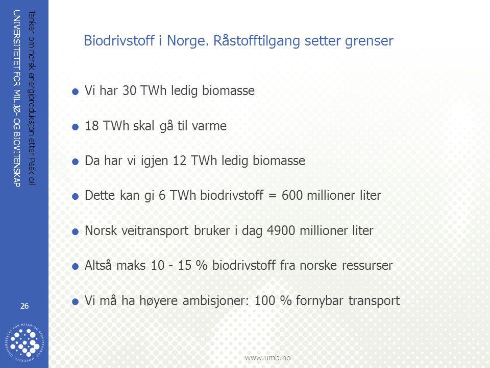 UNIVERSITETET FOR MILJØ- OG BIOVITENSKAP www.umb.no Tanker om norsk energiproduksjon etter Peak oil 26 Biodrivstoff i Norge. Råstofftilgang setter gre
