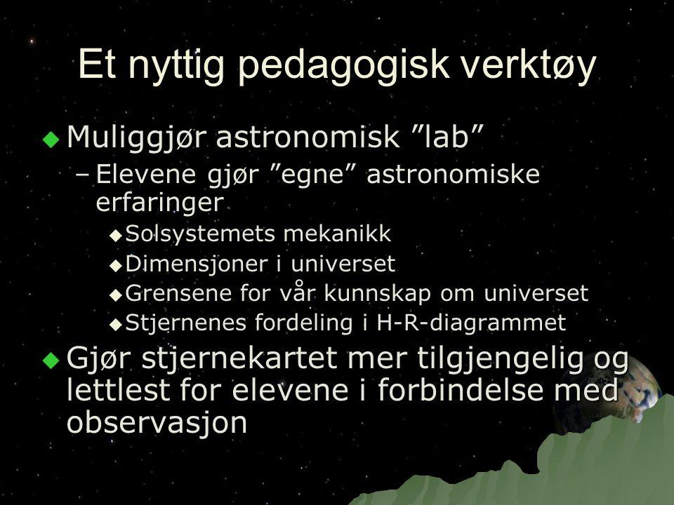"""Et nyttig pedagogisk verktøy  Muliggjør astronomisk """"lab"""" –Elevene gjør """"egne"""" astronomiske erfaringer  Solsystemets mekanikk  Dimensjoner i univer"""