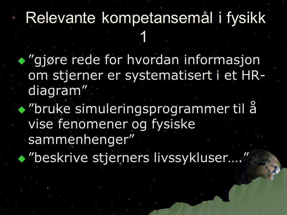 """Relevante kompetansemål i fysikk 1 Relevante kompetansemål i fysikk 1  """"gjøre rede for hvordan informasjon om stjerner er systematisert i et HR- diag"""