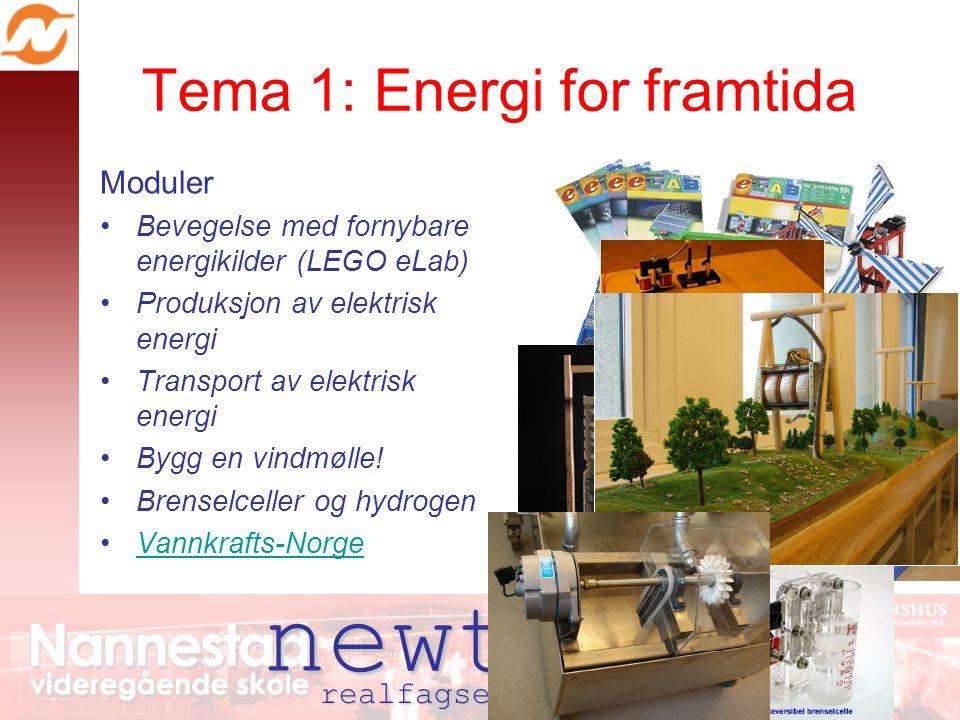 newton realfagsenter nannestad Tema 1: Energi for framtida Moduler Bevegelse med fornybare energikilder (LEGO eLab) Produksjon av elektrisk energi Transport av elektrisk energi Bygg en vindmølle.