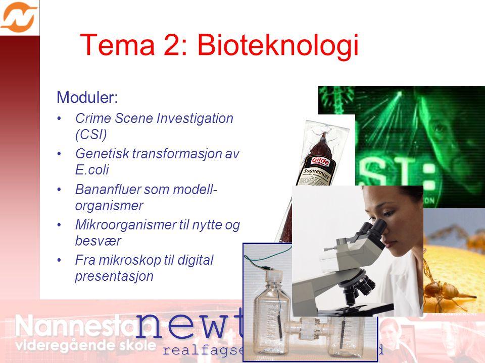 newton realfagsenter nannestad Tema 2: Bioteknologi Moduler: Crime Scene Investigation (CSI) Genetisk transformasjon av E.coli Bananfluer som modell- organismer Mikroorganismer til nytte og besvær Fra mikroskop til digital presentasjon