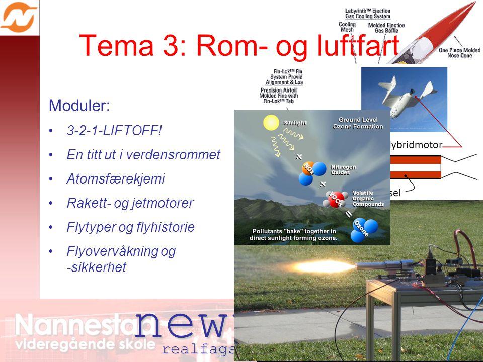 newton realfagsenter nannestad Tema 3: Rom- og luftfart Moduler: 3-2-1-LIFTOFF! En titt ut i verdensrommet Atomsfærekjemi Rakett- og jetmotorer Flytyp