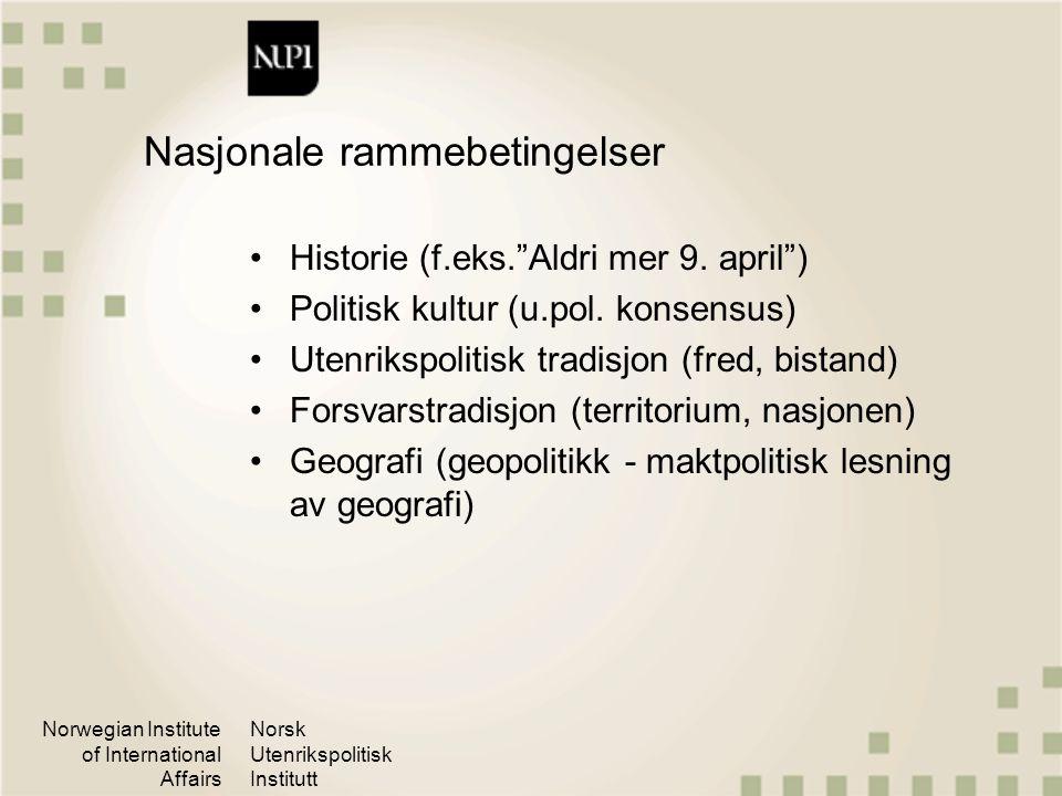 """Norwegian Institute of International Affairs Norsk Utenrikspolitisk Institutt Nasjonale rammebetingelser Historie (f.eks.""""Aldri mer 9. april"""") Politis"""
