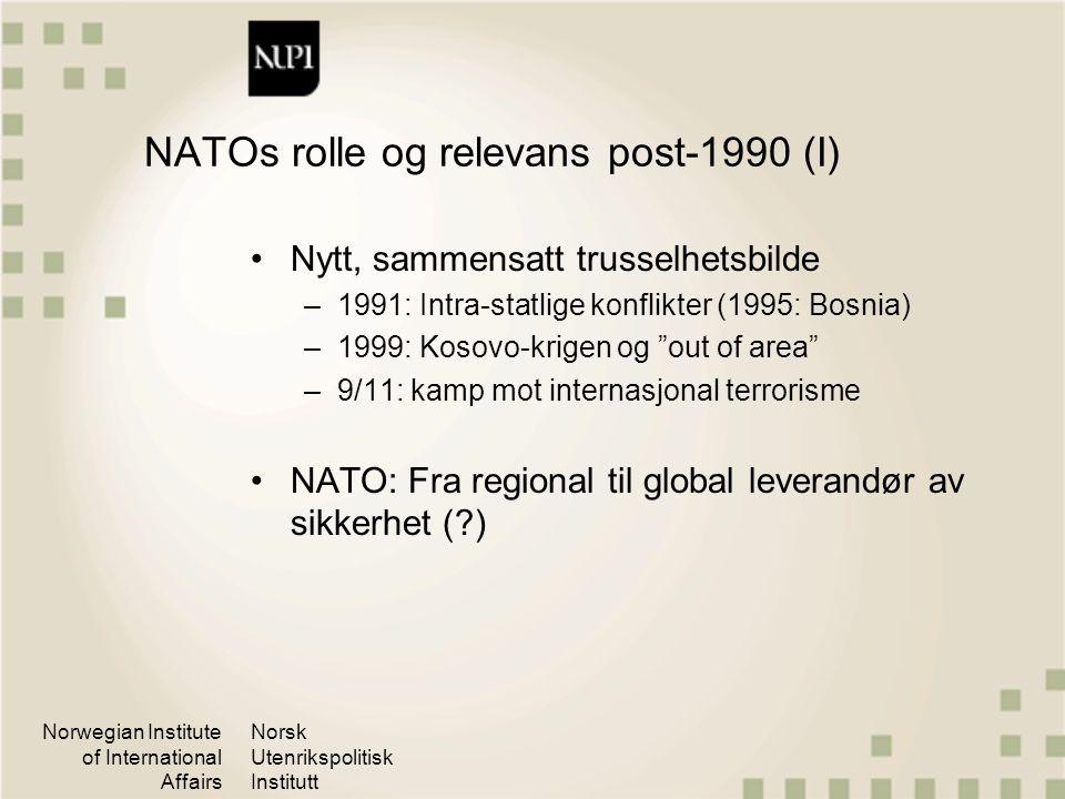 Norwegian Institute of International Affairs Norsk Utenrikspolitisk Institutt NATOs rolle og relevans post-1990 (I) Nytt, sammensatt trusselhetsbilde