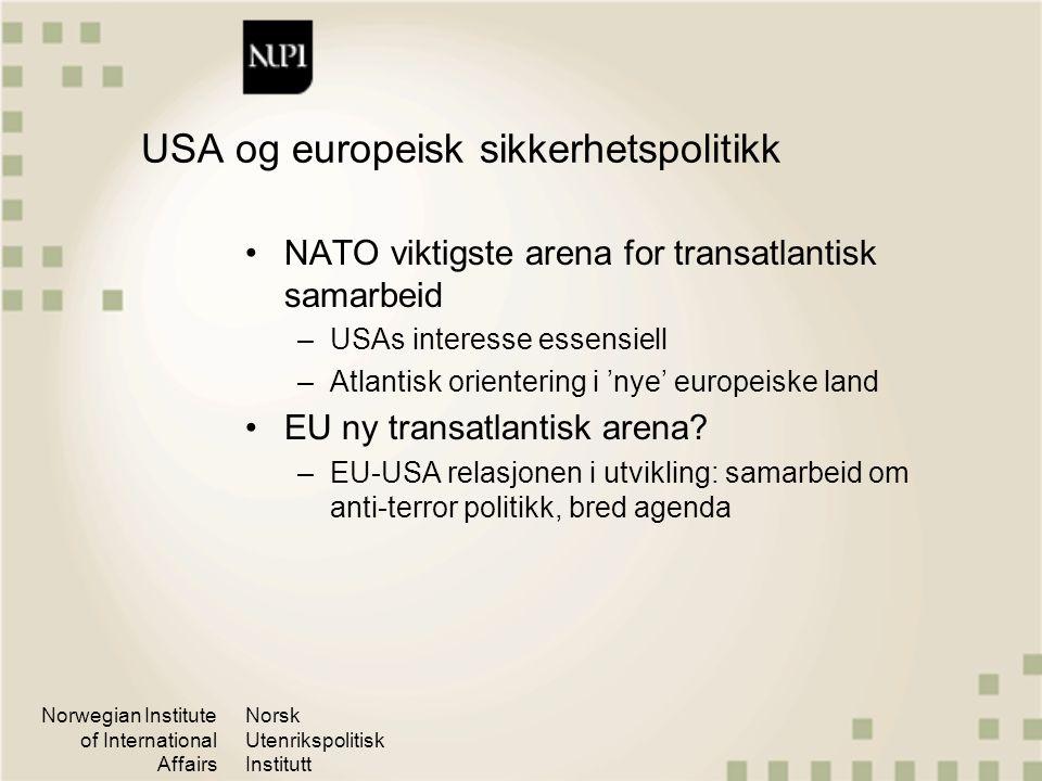 Norwegian Institute of International Affairs Norsk Utenrikspolitisk Institutt USA og europeisk sikkerhetspolitikk NATO viktigste arena for transatlant