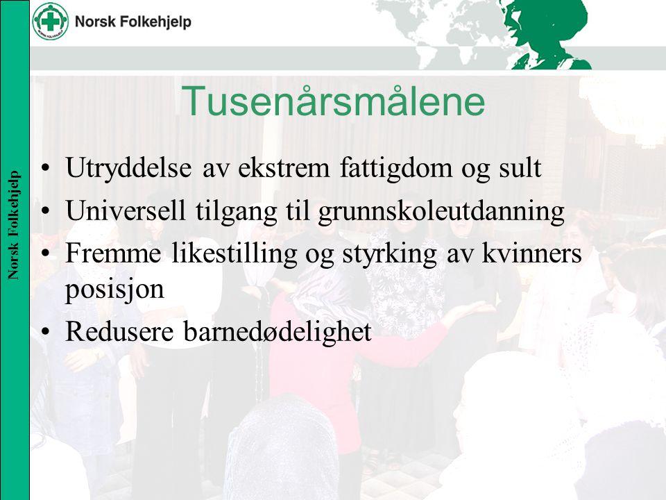 Norsk Folkehjelp Tusenårsmålene Utryddelse av ekstrem fattigdom og sult Universell tilgang til grunnskoleutdanning Fremme likestilling og styrking av kvinners posisjon Redusere barnedødelighet
