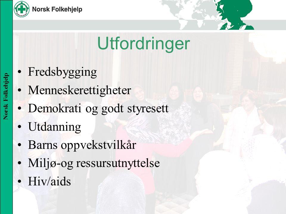 Norsk Folkehjelp Utfordringer Fredsbygging Menneskerettigheter Demokrati og godt styresett Utdanning Barns oppvekstvilkår Miljø-og ressursutnyttelse Hiv/aids
