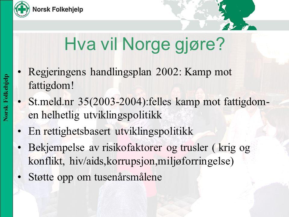 Norsk Folkehjelp Hva vil Norge gjøre. Regjeringens handlingsplan 2002: Kamp mot fattigdom.