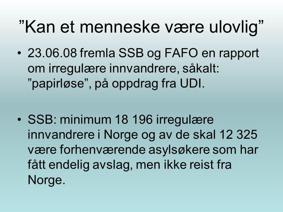 """""""Kan et menneske være ulovlig"""" 23.06.08 fremla SSB og FAFO en rapport om irregulære innvandrere, såkalt: """"papirløse"""", på oppdrag fra UDI. SSB: minimum"""
