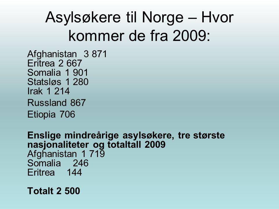 Asylsøkere til Norge – Hvor kommer de fra 2009: Afghanistan 3 871 Eritrea 2 667 Somalia 1 901 Statsløs 1 280 Irak 1 214 Russland 867 Etiopia 706 Ensli