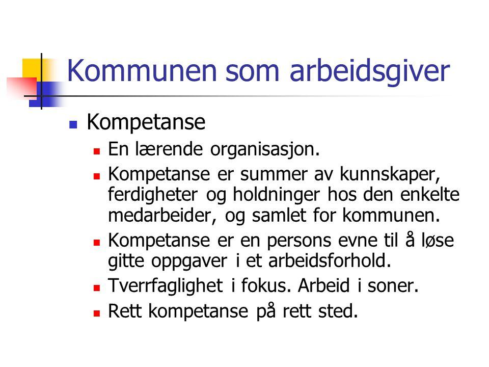 Kommunen som arbeidsgiver Kompetanse En lærende organisasjon. Kompetanse er summer av kunnskaper, ferdigheter og holdninger hos den enkelte medarbeide