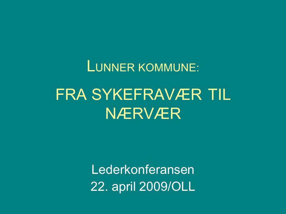 L UNNER KOMMUNE: FRA SYKEFRAVÆR TIL NÆRVÆR Lederkonferansen 22. april 2009/OLL