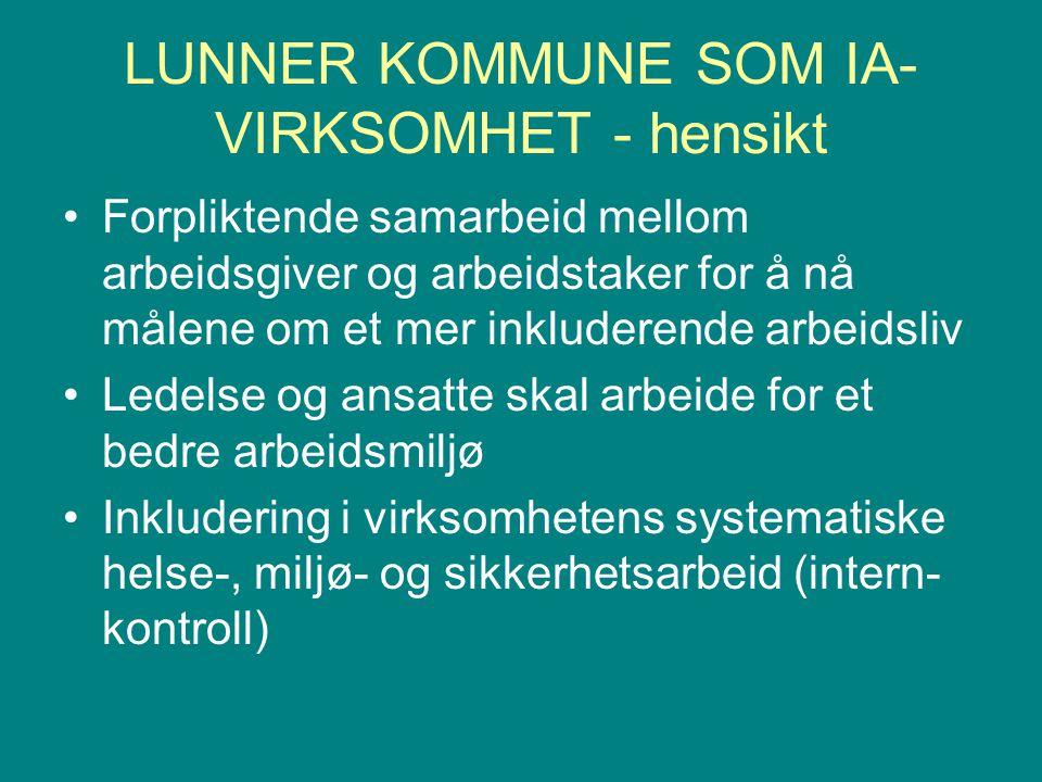 LUNNER KOMMUNE SOM IA- VIRKSOMHET - hensikt Forpliktende samarbeid mellom arbeidsgiver og arbeidstaker for å nå målene om et mer inkluderende arbeidsl