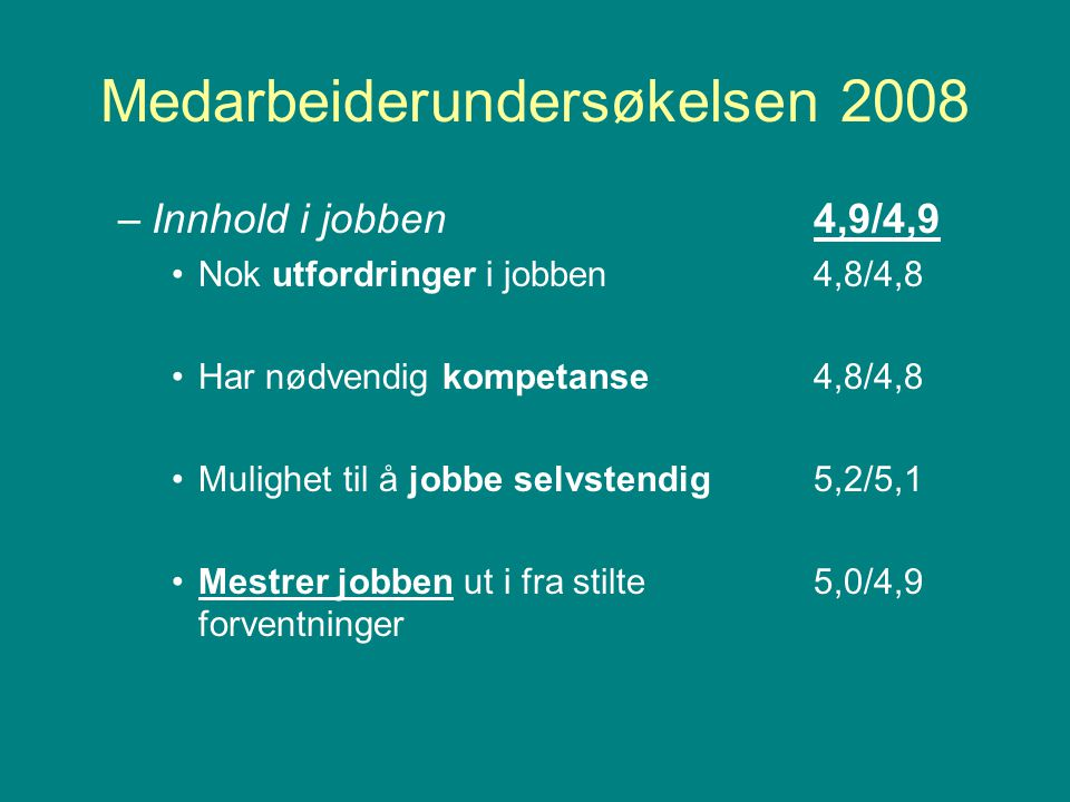 Medarbeiderundersøkelsen 2008 –Faglig og personlig utvikling4,1/4,2 Lærer du noe nytt gjennom jobben?4,4/4,4 Arbeidsgiver legger til rette for 3,9/4,0 kompetanseutvikling som er viktig i jobben Fornøydhet med læring i jobben4,1/4,1